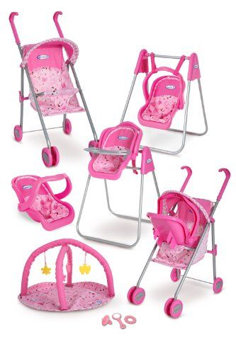 $39.99 Baby Graco Play Set - Stroller with Canopy, Swing / High Chair, Playgym, Baby Monitors and 3 Piece Accessories - Is your little girl equipped to be a ?mom? This pretty pink playset provides a roomful of fun and everything a pretend mom needs for her baby doll. Set includes a convertible travel stroller with canopy and safety harness, a three-way travel/feeding/rocking seat, a two-way conv ...