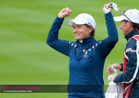Catriona Matthew winning big in her singles match against Paula Creamer on the final day of the 2011 Solheim.