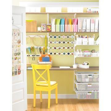 Coffee & White elfa Craft Closet | The Container Store