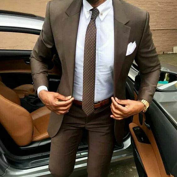 brown suit porka dot brown tie