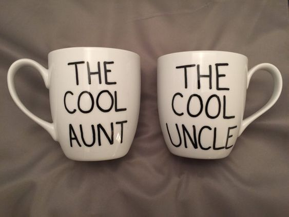 The cool aunt. The cool uncle mug set. Pregnancy by MommysCoffee