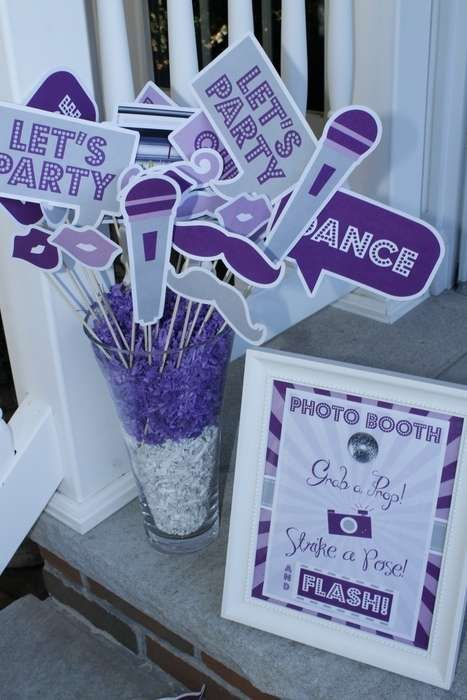 Purple photo props at a dance birthday party!  See more party planning ideas at CatchMyParty.com!