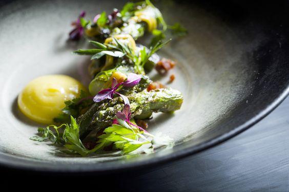 Asparagus, Cashew Romesco, Smoked Egg Yolk, Lomo.