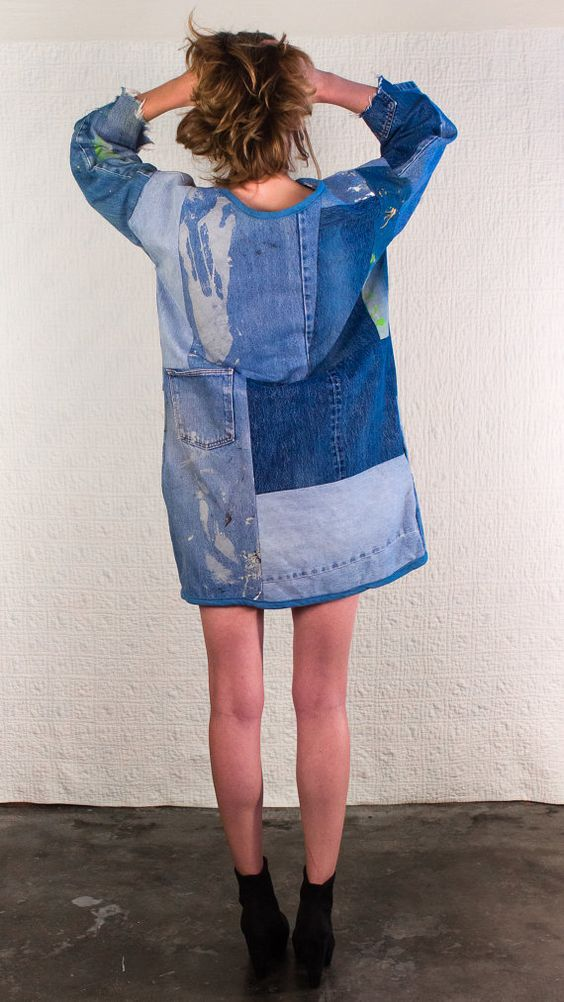SilkDenim Sarah's Dress Made from 100 Recycled Denim by SilkDenim:
