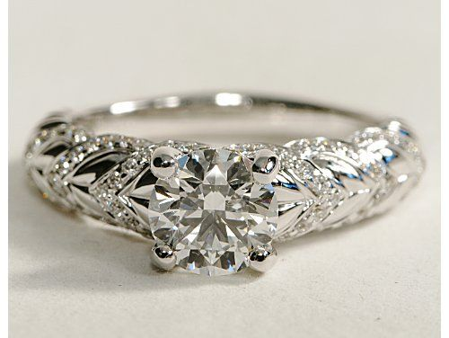 eiros™ Hearts Round Cut Diamond Engagement Ring in 14k White Gold #BlueNile