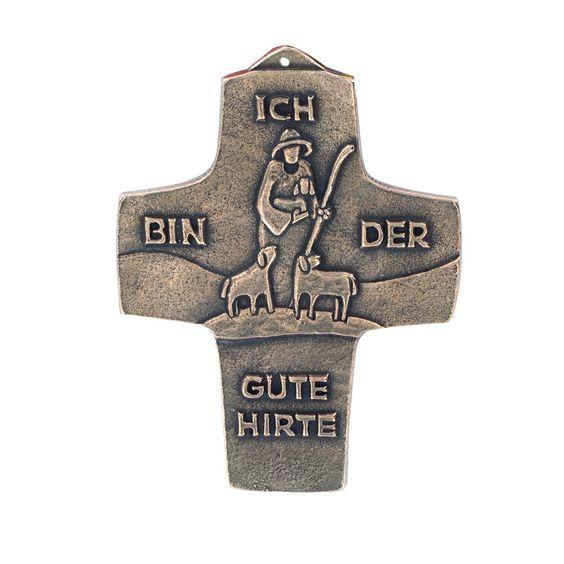 Wandkreuz Der gute Hirt Bronze 10 x 13 cm 91692