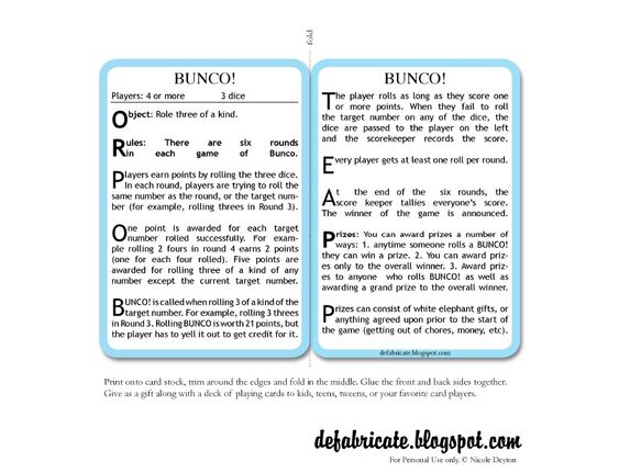Free Printable Bunco Rules And Score Sheets | Scribd | Bunko