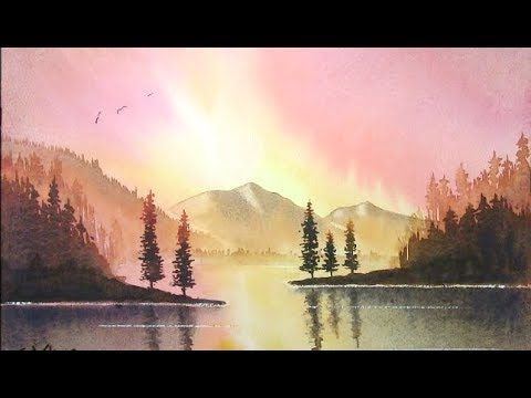 How To Paint A Sunset With Mountains Trees Water And Reflections Sunburst Youtube Watercolor Landscape Tutorial Landscape Watercolor Landscape
