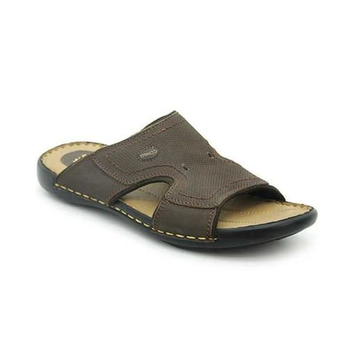 Brown Leather Bata Comfit Slippers