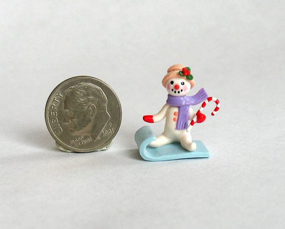 Miniature Adorable Snowman on Sled OOAK by by ArtisticSpirit