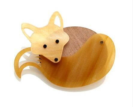 Our new walnut wood and perspex Fox Brooch (£35). Exclusively at Aubin and Wills: http://www.aubinandwills.com/en-gb/product/stanswood-brooch-015601101