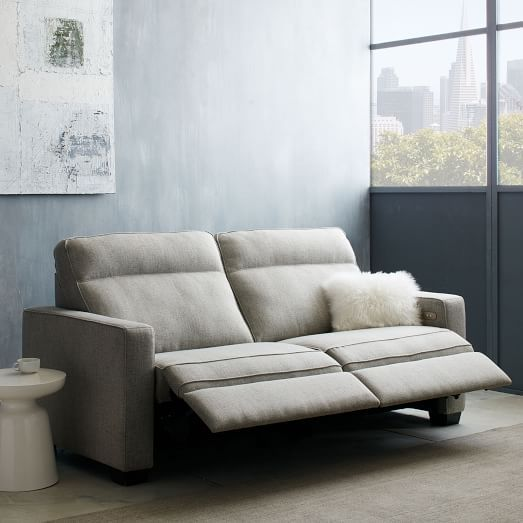 Henry Power Recliner Sofa Gravel Twill West Elm Modern Recliner Sofa Power Reclining Sofa Reclining Sofa