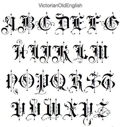 Victorian Old English Font Ecriture Gothique Caligraphie Alphabet Gothique
