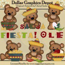Cuddle Bears - Fiesta - Clip Art