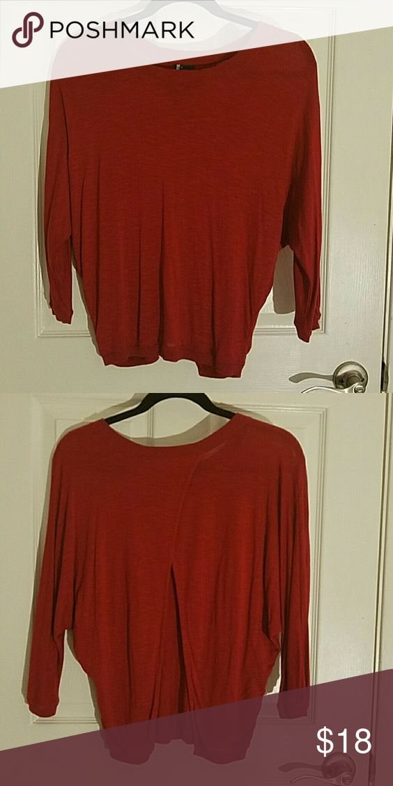 Red Batwing Open Back Top 100% Viscose, this crew neck top has a lovely slit in the back to give great lower back action. 3/4 length sleeves. never worn Sparkle & Fade Tops Tees - Short Sleeve
