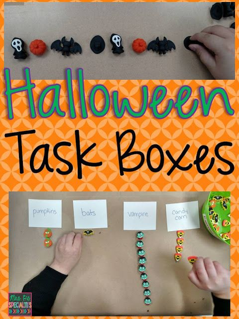 Halloween Task Box Activities that can be put together easily and without spending lots of money!
