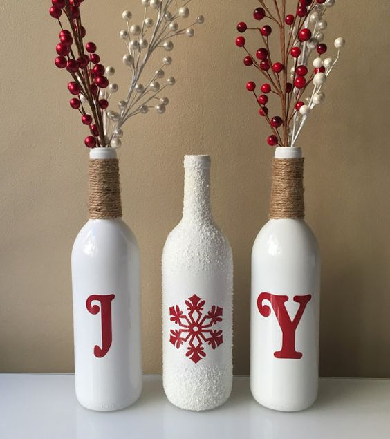 Joy Wine Bottles, Christmas Joy Wine Bottles, Christmas Decorations, Joy, Christmas Wine Bottles,Burlap wine bottles, Snow