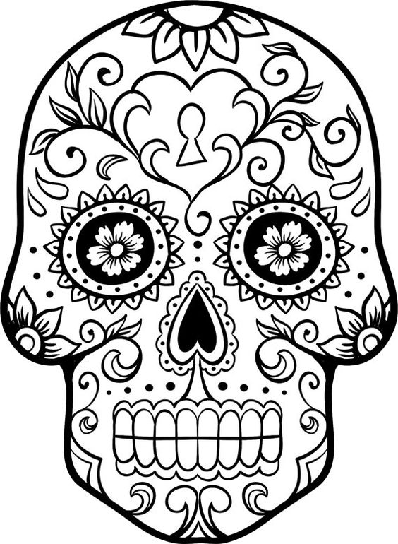 Dia de los Muertos Coloring Pages Pinterest Sugar skulls