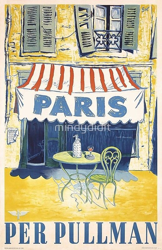 Vintage Poster Paris Outdoor Cafe Poster By Mindydidit Vintage Posters Paris Travel Poster Travel Posters