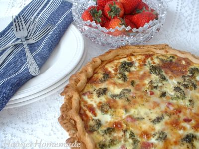 Ham and broccoli quiche. Way to use the leftover ham.
