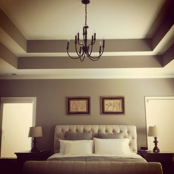 Double tray ceiling add crown moulding to really make it for Ceiling paint colors ideas