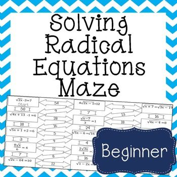 Worksheets Radical Equation Review Worksheet Match Up solving equations equation and maze on pinterest this radical is a self checking worksheet that allows students to strengthen