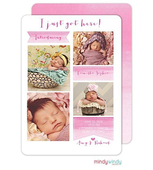 Girl Birth Announcements 4 photos pink digital printed – Printed Birth Announcements