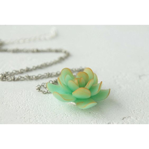 Green Succulent Necklace Pendant Wholesale Mini Succulent Plants... ❤ liked on Polyvore featuring jewelry, pendant jewelry, green jewelry, mini pendants, green pendant and birthday jewelry