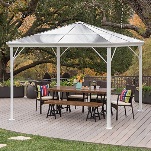 Halley Outdoor 10 X 10 Foot White Rust Proof Aluminum Framed Hardtop Gazebo No Curtains Best Value Buy On Amazon Gazeb Hardtop Gazebo Patio Gazebo Pergola