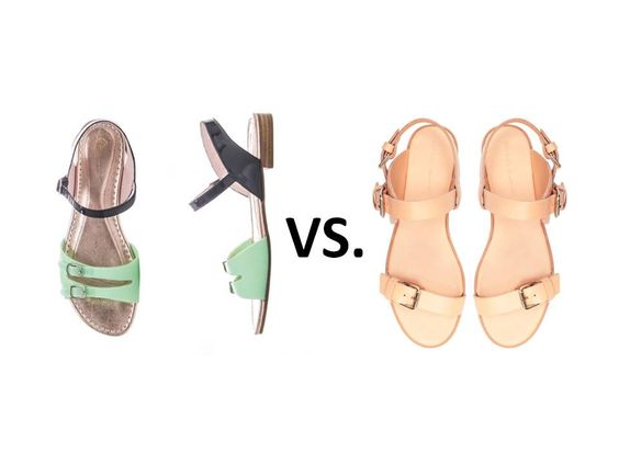 L to R: Opening Ceremony Seaside buckle sandals vs. Zara flat sandal with buckles