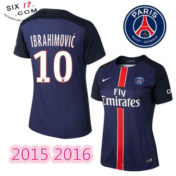 Prix nouveau maillot psg femme 2015 2016 IBRAHIMOVIC Domicile bleu manche courte Pas Cher FFF