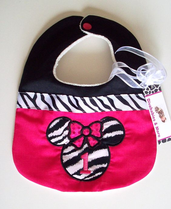 DivababiesMinnie Mouse Hot Pink and Zebra by DivababiesAndMore, $14.00
