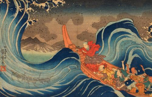 Utagawa Kuniyoshi (歌川 国芳), The priest Nichiren (日蓮); calming a...