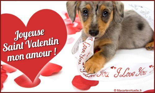 carte saint valentin chiot valentine 39 s day pinterest. Black Bedroom Furniture Sets. Home Design Ideas
