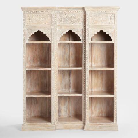 World Market Whitewash Carved Wood Peacock Bookshelf Painted