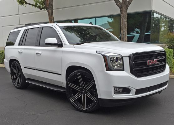 White Yukon Denali Black 26 Custom Wheels Denali Truck Gmc