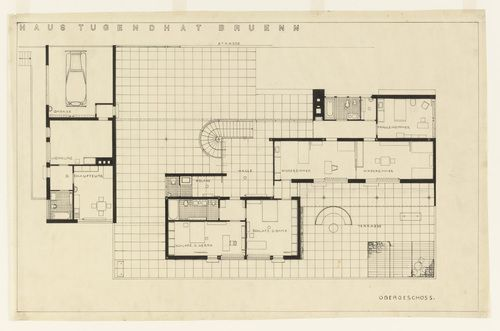 "Tugendhat House, Brno, Czech Republic, Second floor plan  Ludwig Mies van der Rohe (American, born Germany. 1886–1969)    1928-30. Ink on tracing paper, 22 1/4 x 34 1/2"" (56.5 x 87.6 cm). Mies van der Rohe Archive, gift of the architect. © 2012 The Museum of Modern Art, New York"