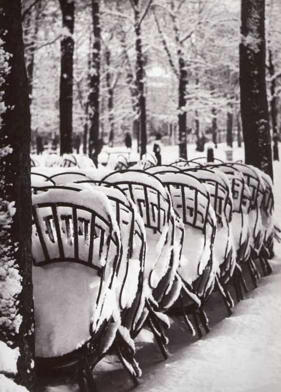 Brassaï: Chairs in the Luxenbourg Gardens in Winter. Brassaï Archives, Paris. 1953.