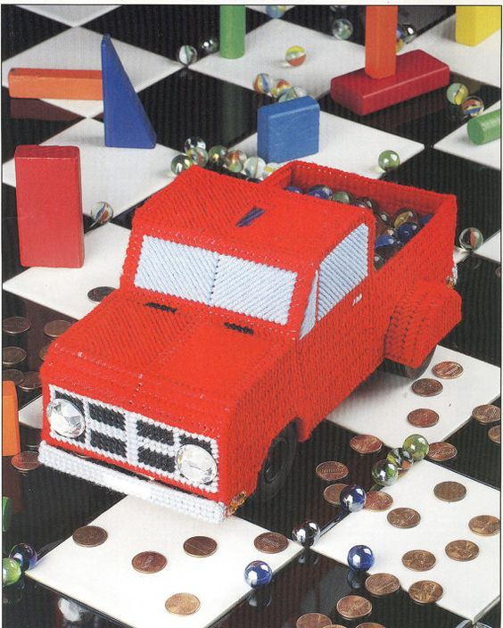 Red Pickup Truck Bank Plastic Canvas by needlecraftsupershop, $3.50