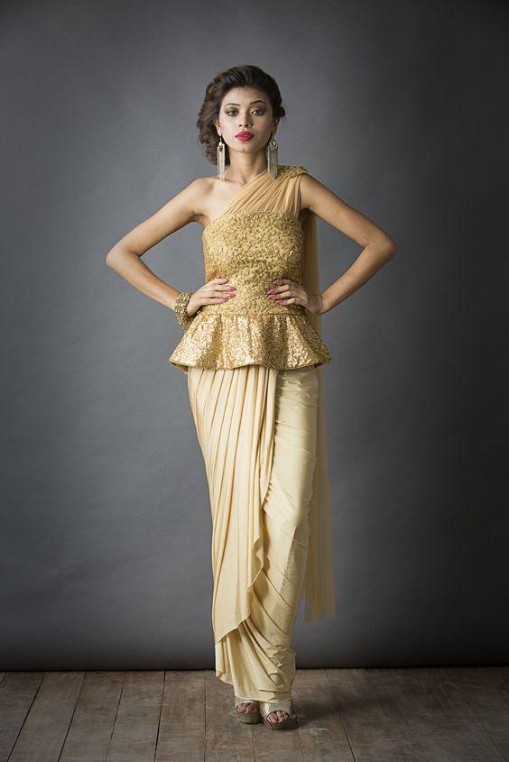 Sa'irah by Roopsi Suri - Peplum Saree: