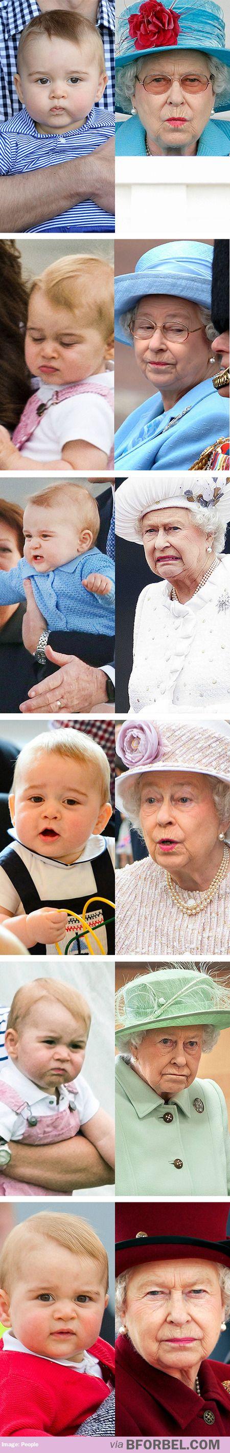 Prince George & great grandmother Queen Elizabeth II ~~ That's hilarious! Love love love it!: