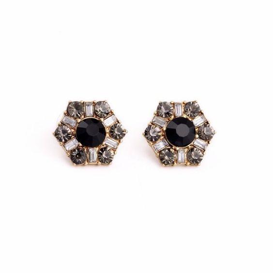 Black studs fancy formal earrings Brand new in original packaging . As pictured . Jewelry Earrings