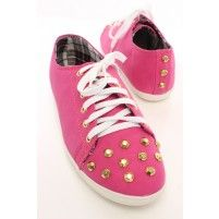 Fuchsia Faux Leather Studded Lace Up Flats