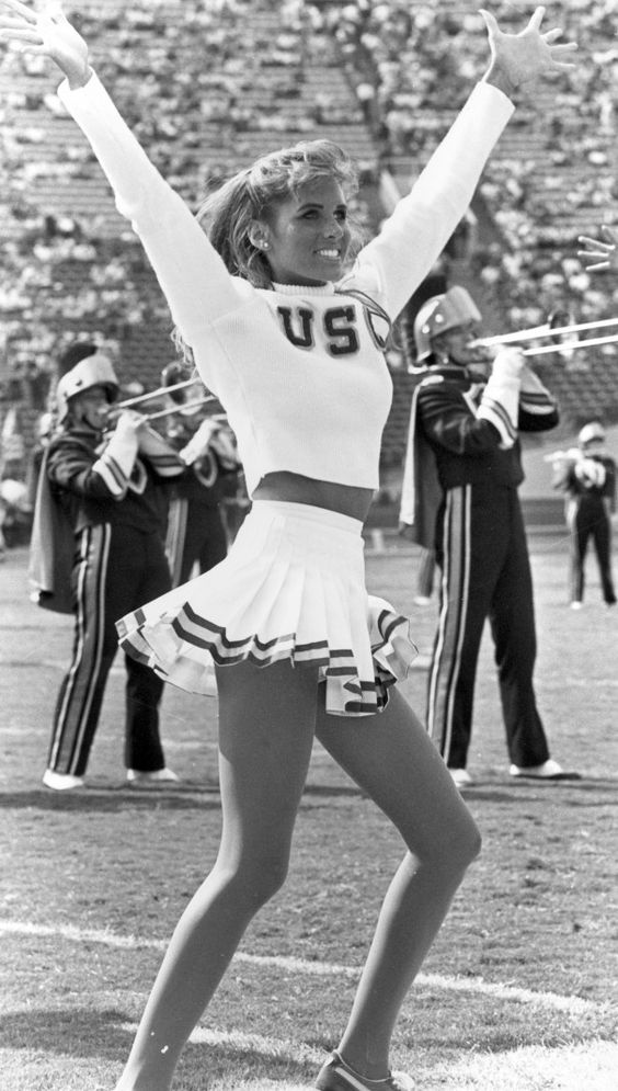 Vintage University of Southern California | Black & white photograph of  Trojan cheerleader.