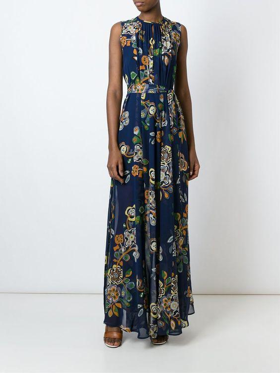 MSGM Vestido floral de seda