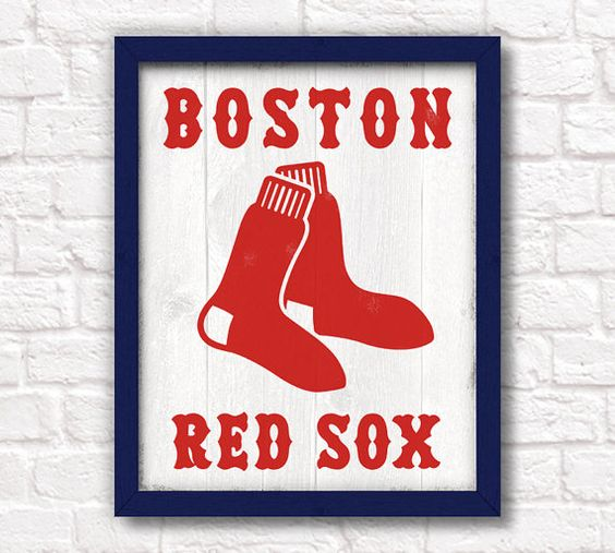Boston red sox handmade sign red sox wall sign for boys for Boston red sox bedroom ideas