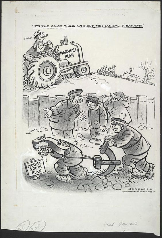 1949 cartoon by Herb Lock for the Washington Post after the USSR created the Council for Mutual Economic Assistance, Stalin's 'version' of the Marshall Plan