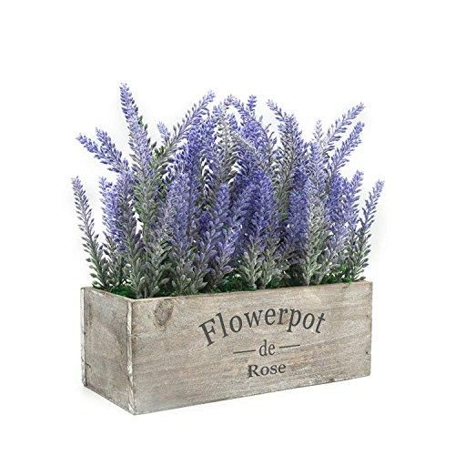 Velener Artificial Flower Potted Lavender Plant For Home Decor Wooden Tray In 2020 Flower Pots Potted Lavender Lavender Potted Plant