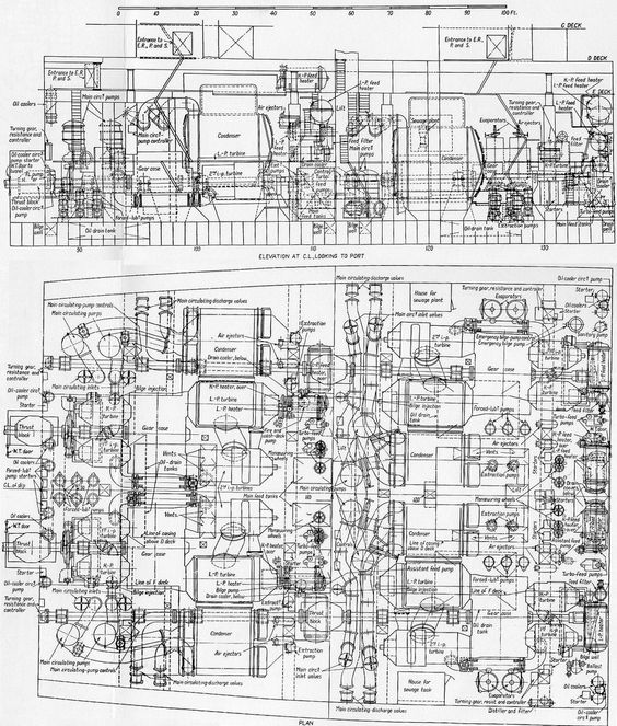 plan and elevation of the s engine rooms ship schematics cutaways diagrams
