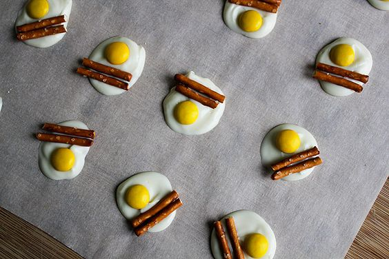 """""""bacon & eggs"""" with white chocolate, pretzels, and m"""